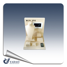 Customized beige display tray jewelry made of pu leather with led light display rack jewelry leatherette from yadao