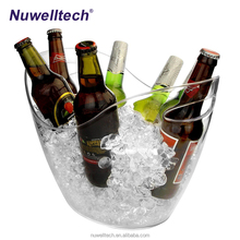 China Wholesale Promotional Acrylic Drinks Ice Bucket Large 8L Plastic Clear Table Outdoor Beer Wine Ice Cooler Bucket