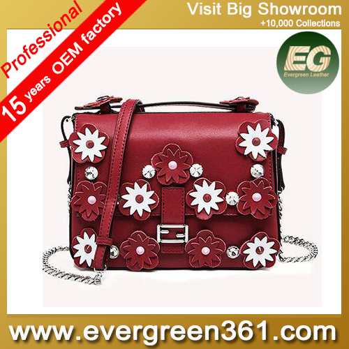 2016 New Arrival small shoulder bag lady Genuine leather designer handbags with flowers EMG4698