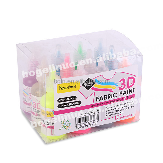12 Colours 30ml 3D Waterproof Fabric Paint Wholesale