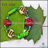 Caterpillar Stretchy Bracelet Garden Bugs Bracelet Polymer Clay Ladybug Bumble Bee Bracelet Jewelry