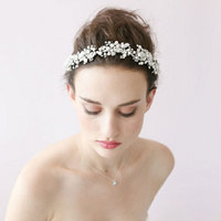 wedding tiara crochet headband crown bride Silver heavy beaded rhinestone bridal wedding jewelry hair acessorios XT-3138