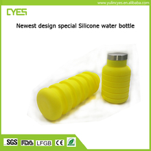2017 new arrival personalized good quality durable easy to clean collapsible water bottle silicone travel bottle water bottle