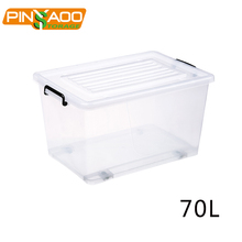 Transparent or Colorful Household Clothes Keyway 70L Plastic Storage Box