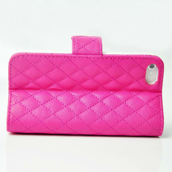 Luxury Diamond Quilted Wallet Leather Case for iPhone 5 5G with Back Stand Credit Card Cash Slot