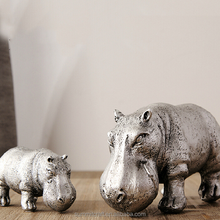 Table hippo sculpture resin painting hippo statue