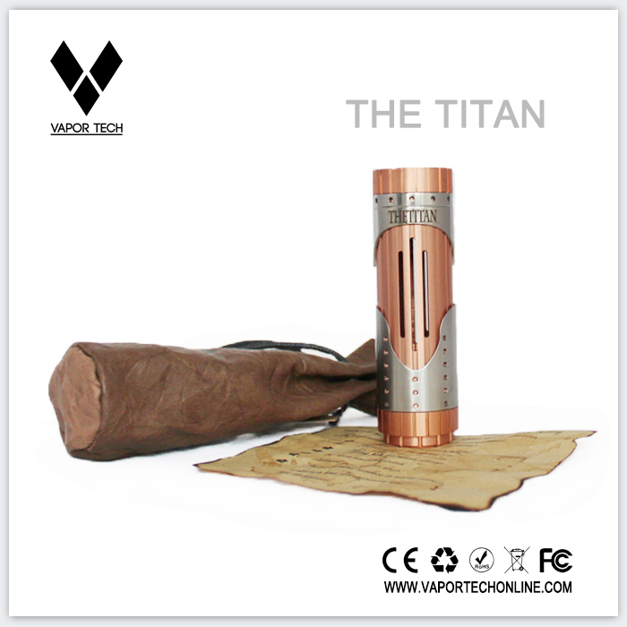 Copper battery tube with stainless steel sleeve The Titan vaporizer mechanical mod