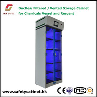 Vented chemical storage cabinet for laboratory clean room safety