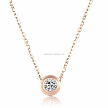 Olivia bling stainless steel jewelry silver plated cubic zircon women necklace