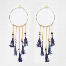 Exquisite Big Gold Plated Alloy Hoop Tiny Beads Long Atroceruleous Tassel Fabric Tassel Dangle Hoop Earrings For Party Women