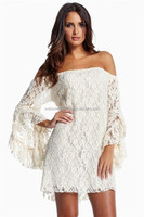 2014 New Dress Fashion New arrival Cream Lace Off-The-Shoulder Mini Dress White Summer Casual Dress for Women Wholesale
