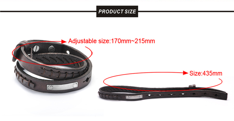 Top Sale European Metal Plate Italian Genuine Leather Bracelets For Men