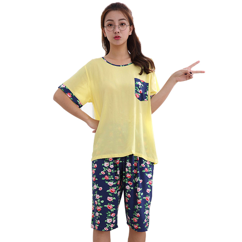 New 2018 Fahion Style Rayon Women Pajamas Flower Women Sleepwear Suit Short Sleeve Lady Pajamas Sets Nightgown Home Clothes <strong>010</strong>