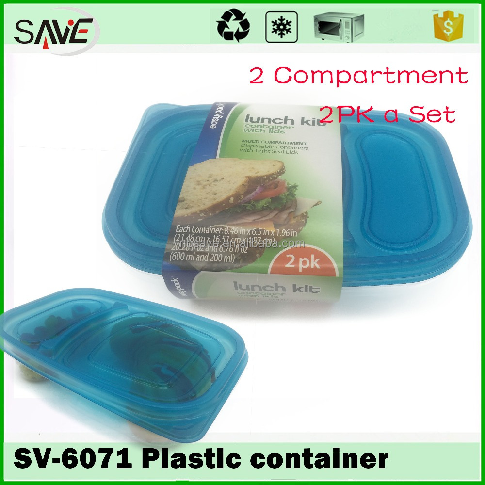 Easylock conveniently portion control in 2 compartment disposable leakproof bento lunch boxes with dividers