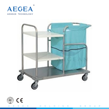 AG-SS018 metal frame 3 layers medical dressing trolley with dust bag