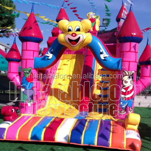Cartoon jeux gonflable bouncy slide, commercial jeux chateau gonflable for sale, kids indoor toboggan gonflable