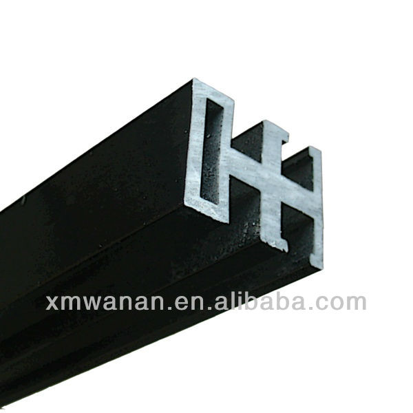 Black door or Window rail linear pvc profile