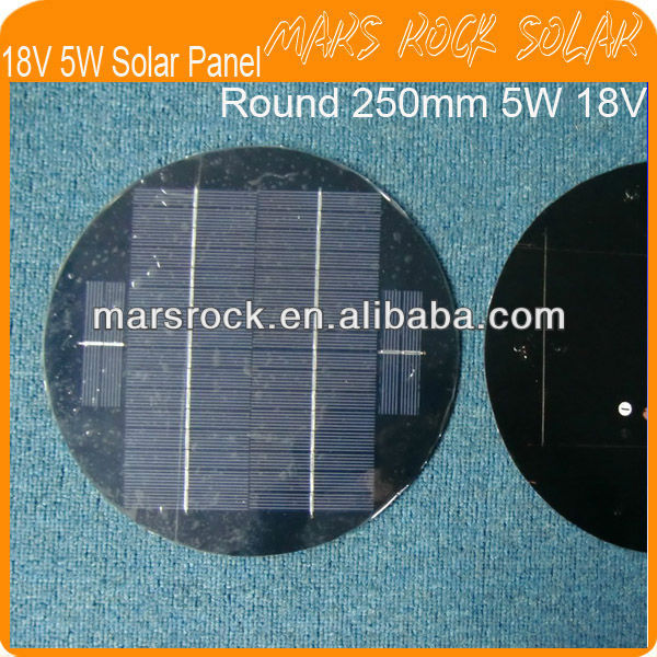 5W 18V Round Diameter 250mm PET Laminated Solar Panel