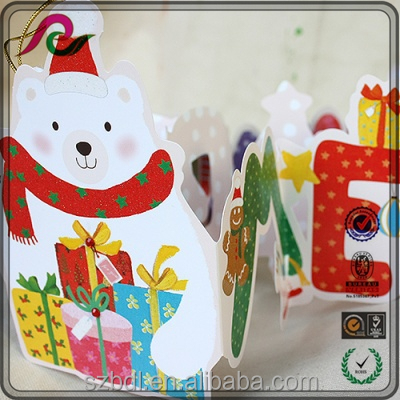 Handmade cute cartoon 3D folding Christmas decoration greeting card for festivals