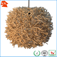 Circular special mini design natural neutral almond color rattan hanging lamp