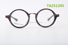 China optical reading glasses manufacturer with custom laser logo round full acetate wood imitate frames with metal bridge
