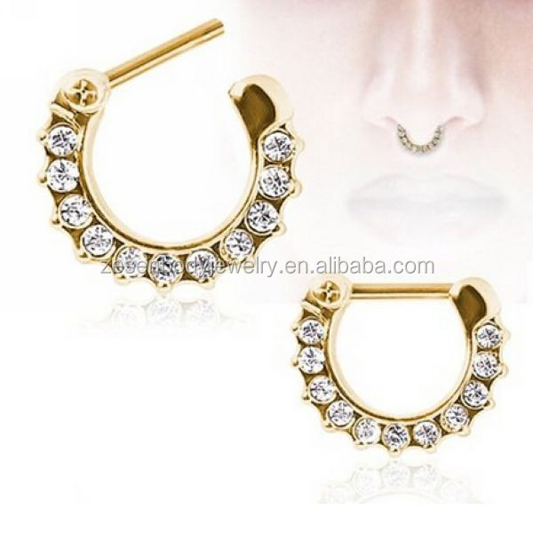 Hot Selling Gold Plated Gem Septum Clicker Nose Ring Piercing Jewelry