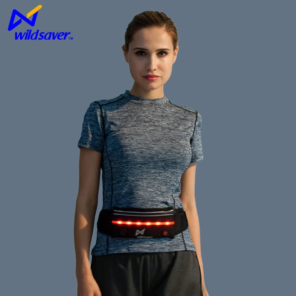 Wholesale sport fanny pack elastic running belt bag with led light