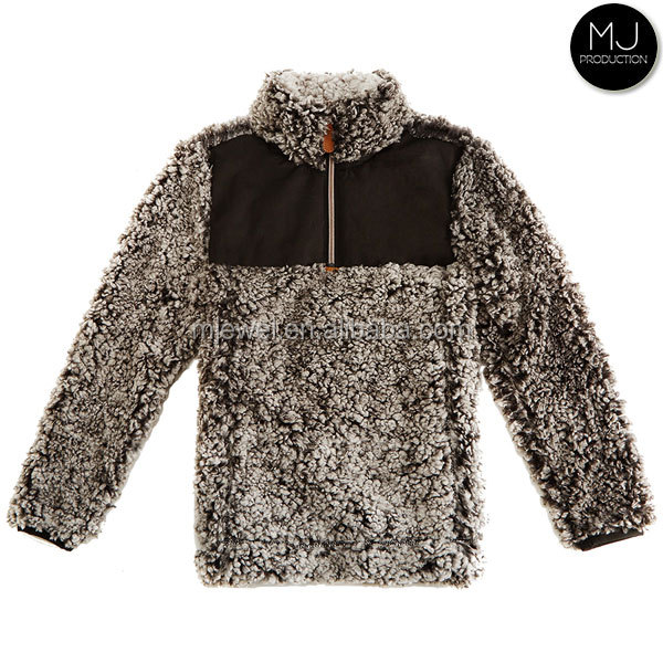 FACTORY wholesale personalized frosted tip 1/4 zip monogrammed sherpa pullover kid clothes