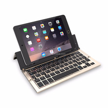 Aluminium protable slim bluetooth keyboard for Apple iPad air 2 with three fold stand