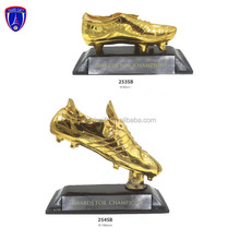 Gold plated soccer awards shoe trophy for champions