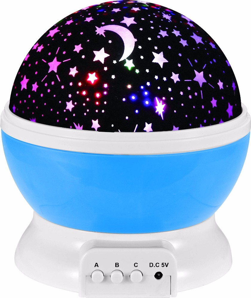 Novelty 360 Rotating Night Light, Romantic Cosmos Star Moon Sky Projector, Idea Bedroom Lamp for Children and Baby