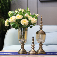 Modern high quality wholesale glass flower vase set for wedding gifts