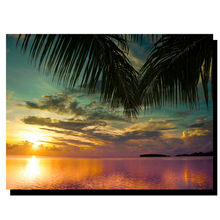 lacquer coating canvas picture paintings of sunset over the palm tree and pacific ocean