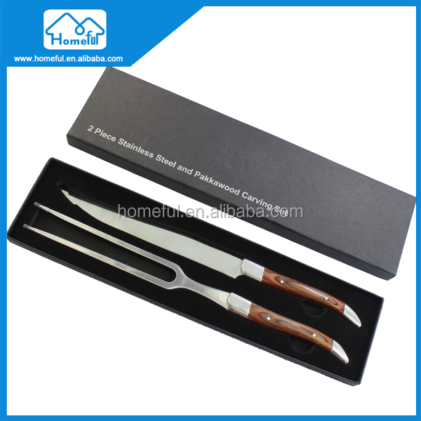 HOMEFUL OEM BBQ Meat Carving Knife and Fork Set with Case