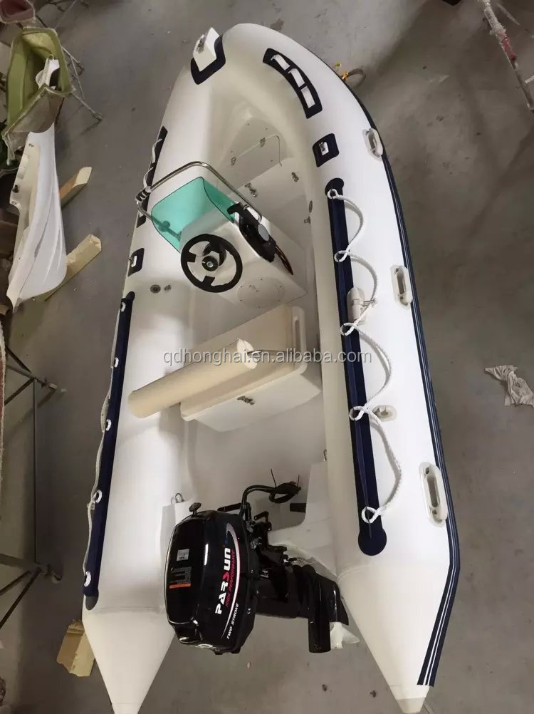 RIB inflatable fishing boat with ocean marine outboard engine