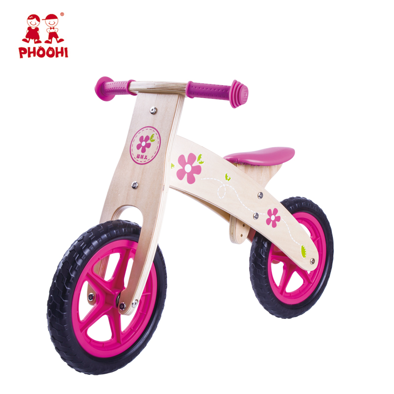 Pink children outdoor bicycle play toy kids wooden balance bike for girls 3+