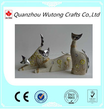 OEM Handmade Resin Cat Statue for Weddings decoration, Wholesale arts and crafts