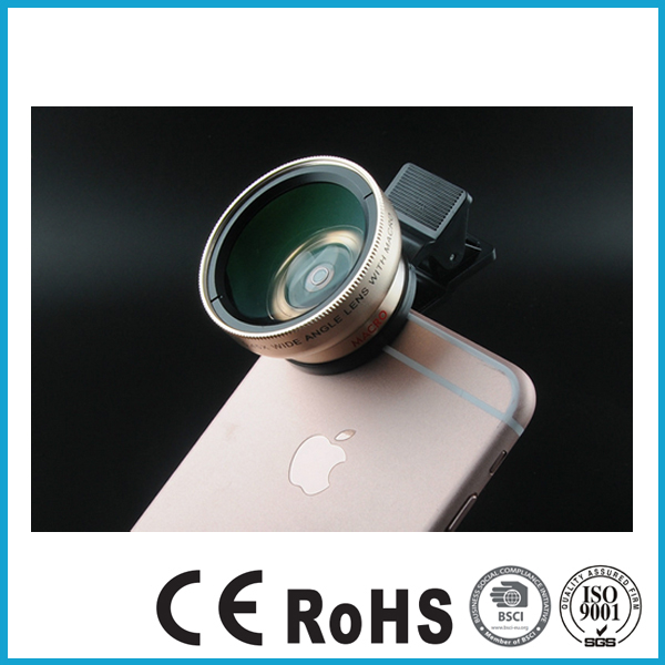 PROMOTION UNIVERSAL CLIP KIT 2 IN 1 37MM 0.45X49 UV SUPER WIDE ANGLE PLUS MICRO LENS MOBILE PHONE CAMERA LENS FOR ALL PHONES