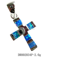 Factory Price 925 Sterling Silver Opal Cross Charms For Christian Gifts