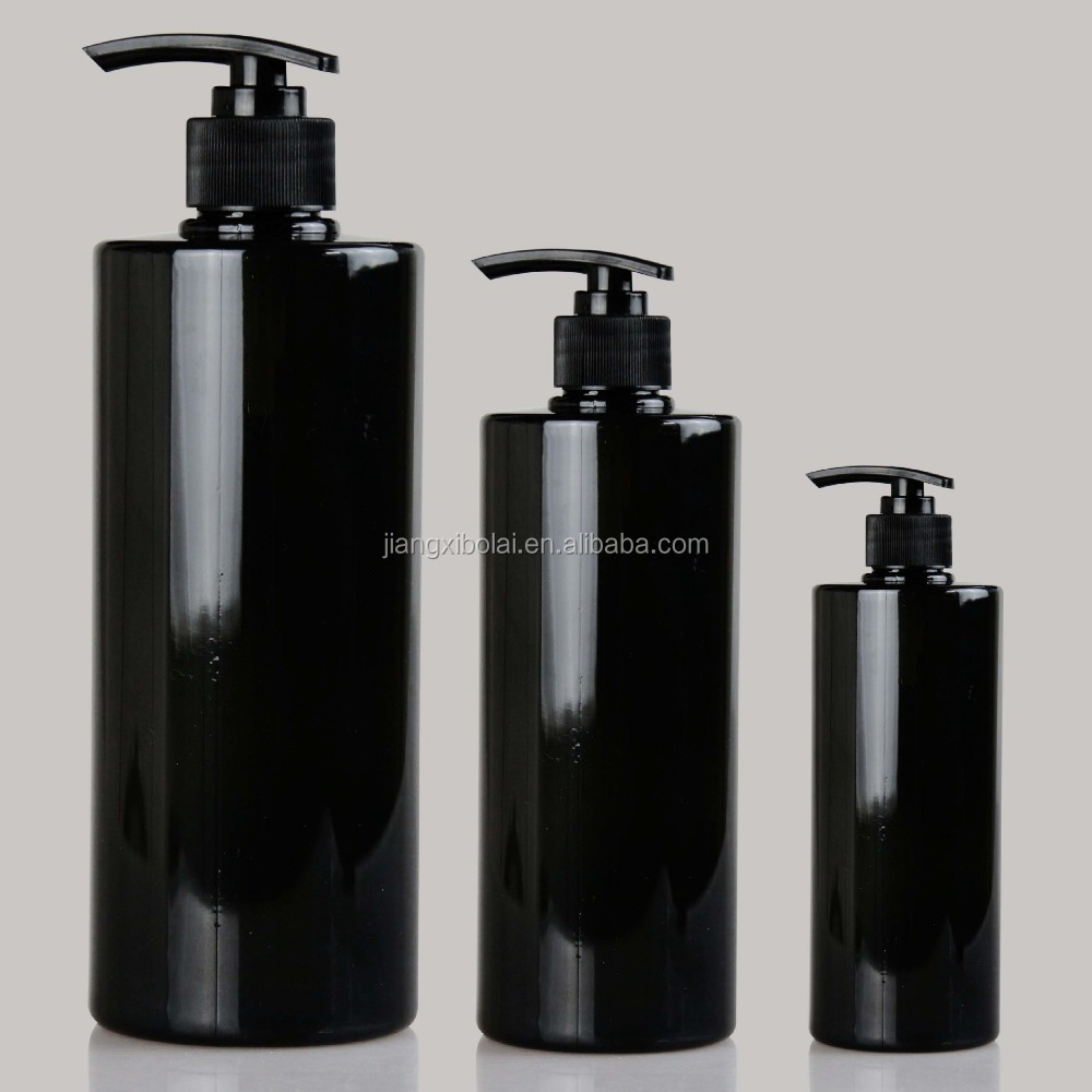 Screen Printing Surface Handling and black shampoo packaging custom empty plastic bottles 250ml 500ml 750ml