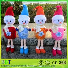 2016 Cute Christmas Tree Decoration Supplies Plush Snowman Keychain