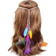 Fashion <strong>Hair</strong> <strong>Accessories</strong> Long Beaded Feather Headband Bohemia Style Hairband