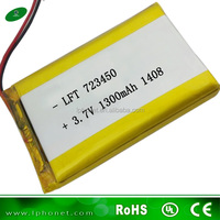 custom 723450 3.7v 1300mah li-ion rechargeable battery for gps tracking