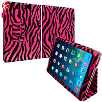 Hot Pink Zebra Folio Pouch Flip leather Case Cover Stand for Apple iPad Air