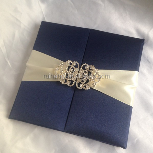 Wholesale luxury thai Silk Invitation Boxes with rhinestone