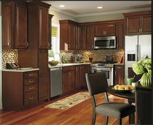 Modern Design Free Standing Storage Walnut Color Solid Wood Kitchen Cabinets for Sale