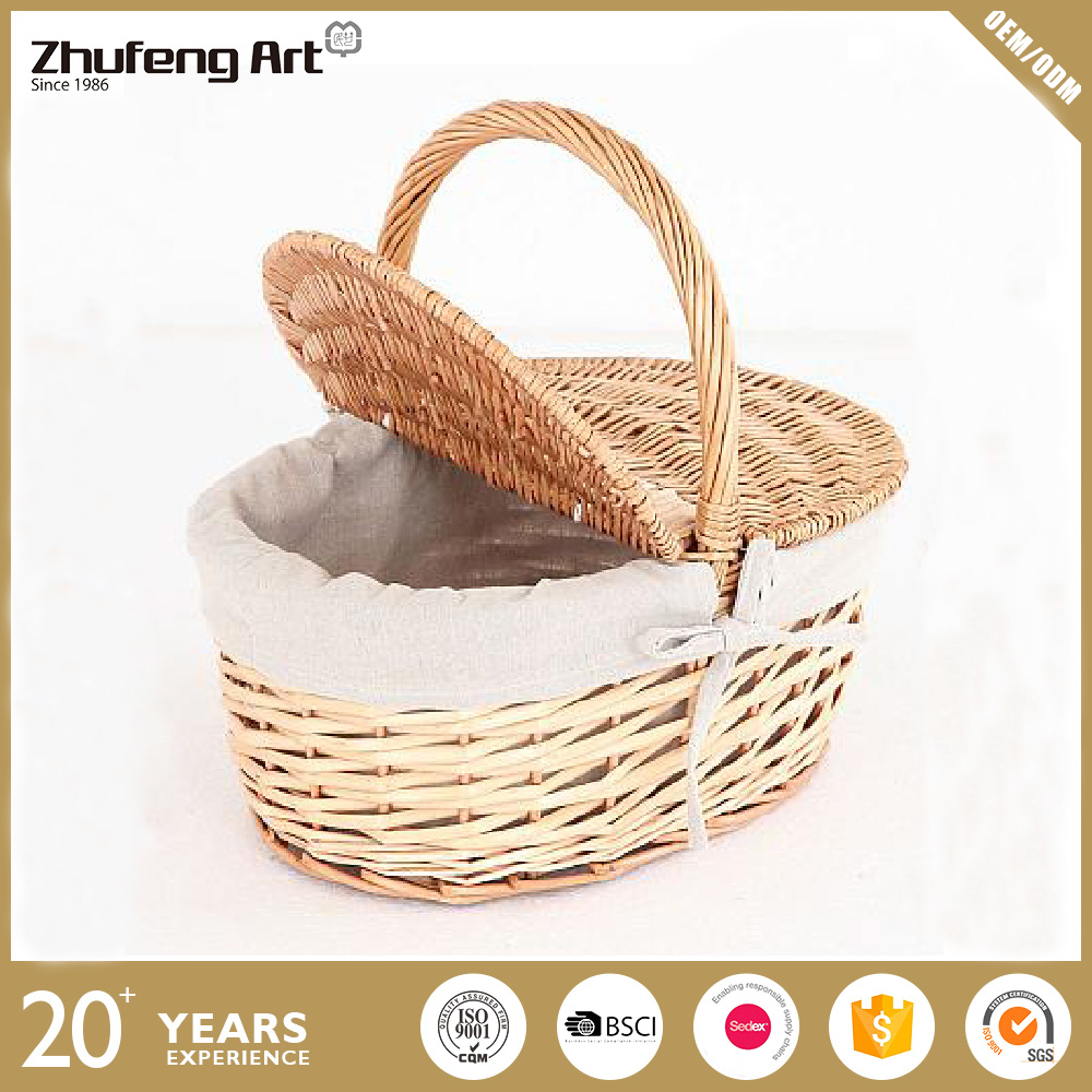 Customized Decorative Cheap Natural Willow / Wicker Storage Basket with Lid for Picnic