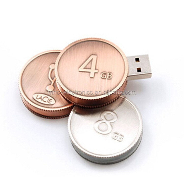 Cassino promotional gift custom laser engraved logo metal coin shaped usb key 4GB