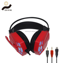 Best quality noise cancelling stereo gaming headset with MIC, LED light transparent / solid color (OS-850MV)