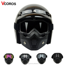VCOROS Monster mask vintage motorcycle helmet mask Detachable goggles and mouth for Open Face Half Helmet scooter Helmets